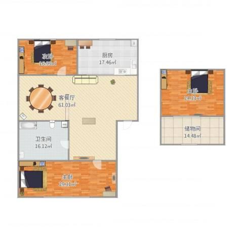 锦华中园622333室1厅1卫1厨236.00㎡户型图