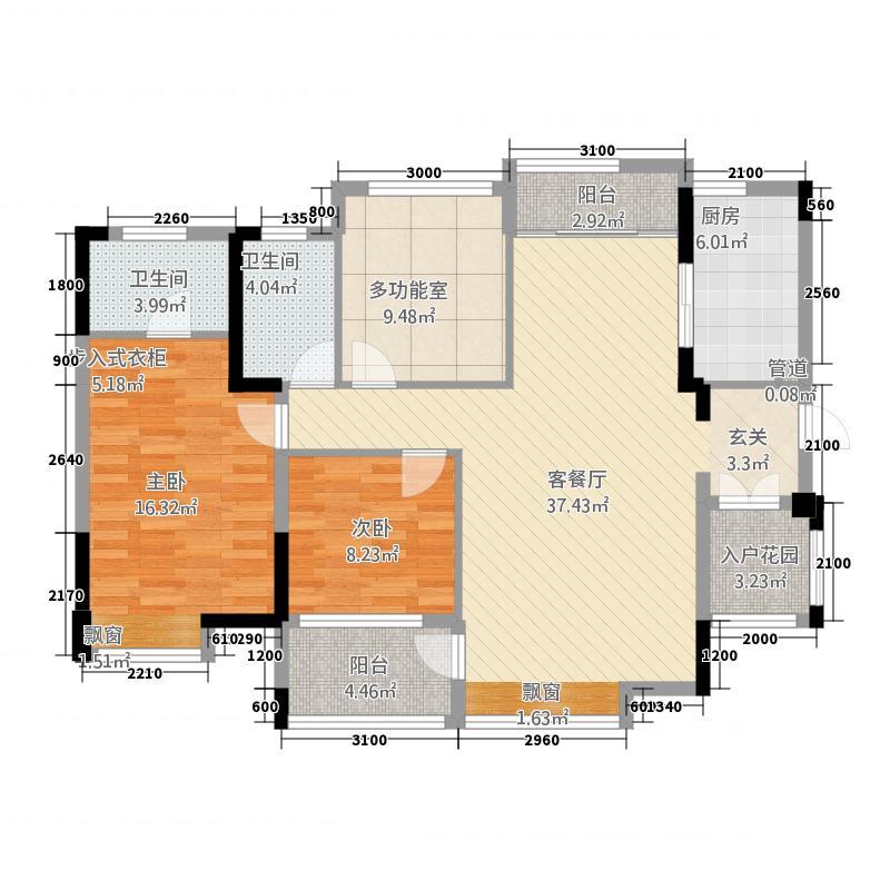 铭泰锦山一栋临风阁户型3室2厅2卫1厨