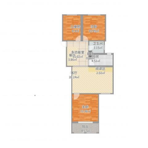紫东国际3室1厅2卫1厨104.00㎡户型图