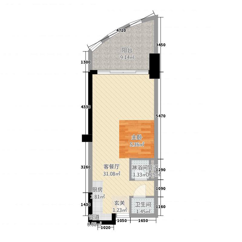 中航元屿海1257.20㎡B1栋02户型1室1厅1卫1厨