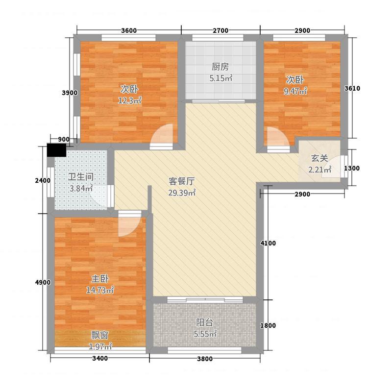 海亮世纪新城31.20㎡B3户型3室2厅1卫1厨