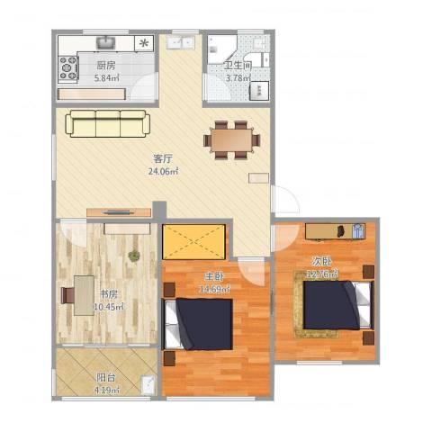 文昌桥小区3室1厅1卫1厨101.00㎡户型图