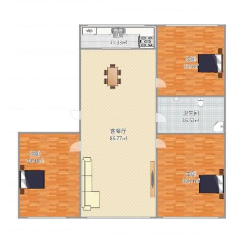 葵英林苑3室1厅1卫1厨228.01㎡户型图