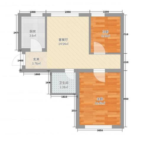 甜橙派2室1厅1卫1厨256.00㎡户型图