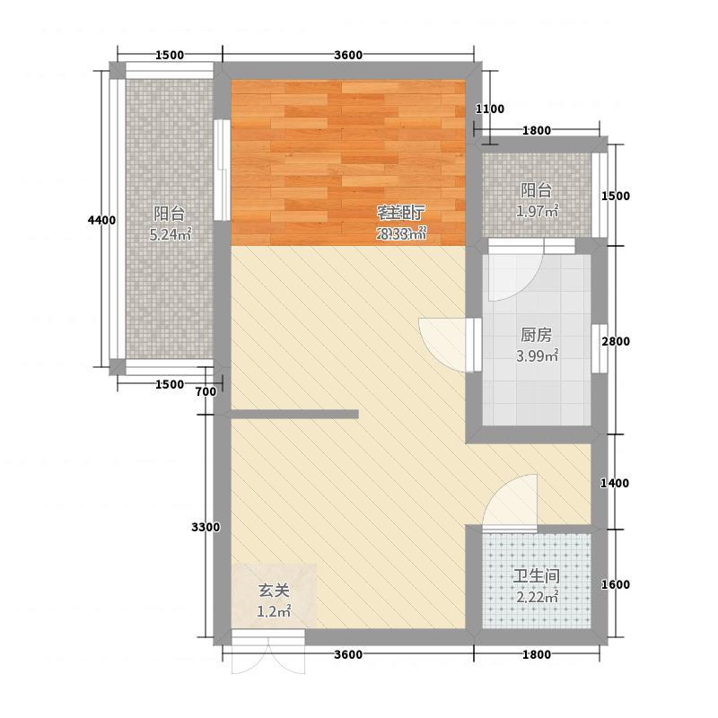 名家汇国际广场6.20㎡9号楼b3-1型单身公寓户型1室1厅1卫1厨