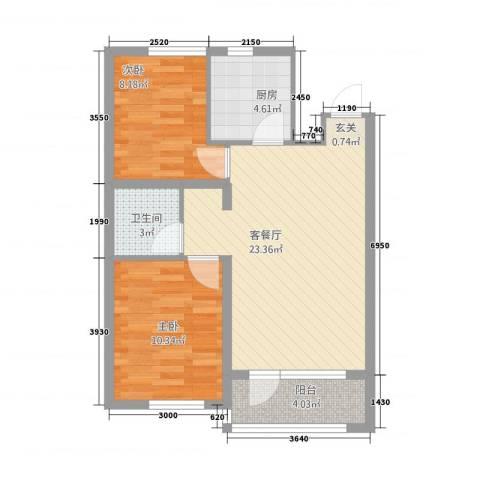 甜橙派2室1厅1卫1厨373.00㎡户型图