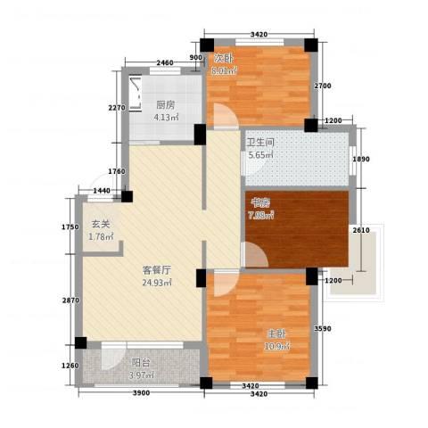 甜橙派3室1厅1卫1厨65.56㎡户型图