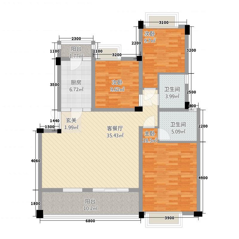 彭州紫光兴城11123.20㎡一期11栋6-18层D户型3室2厅1卫1厨