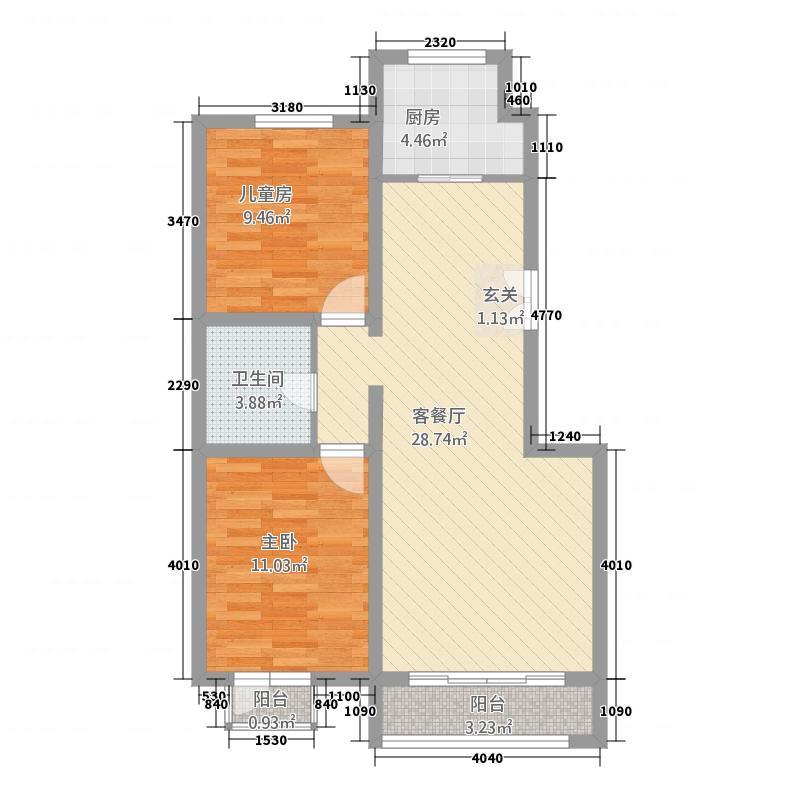 筑石格林印象89.46㎡C户型2室2厅
