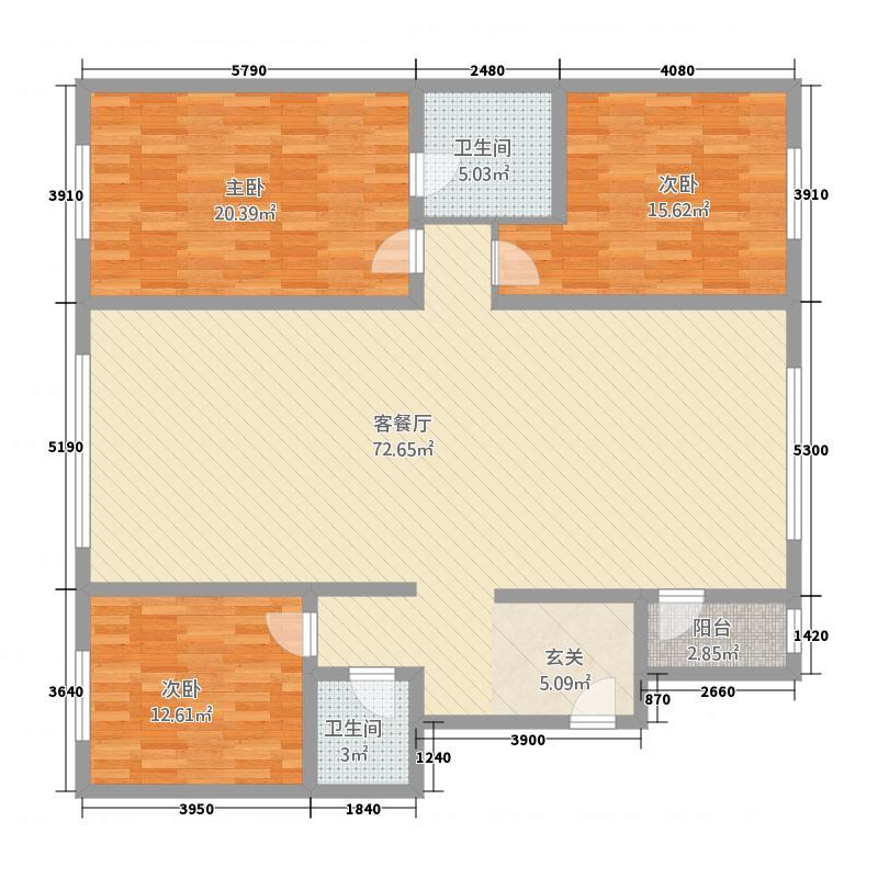 城祥城尚成155155.20㎡户型3室2厅2卫1厨