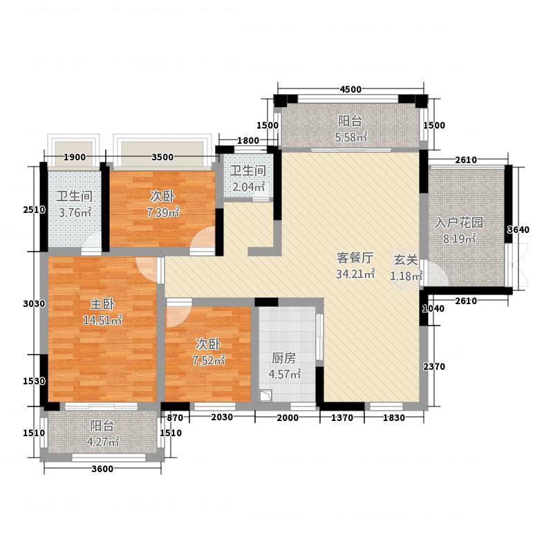 海盟・吉盟天下118.86㎡户型2室2厅2卫1厨