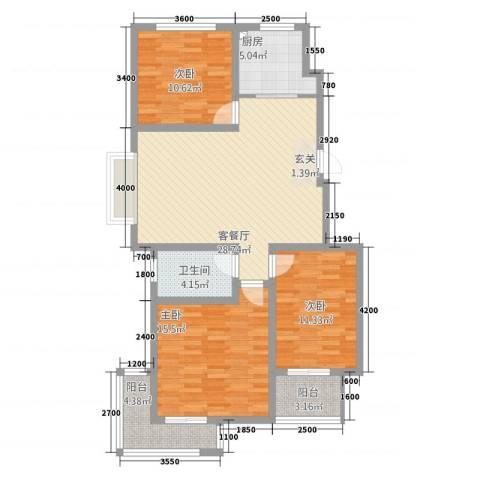泰和名都3室1厅1卫1厨1115.00㎡户型图