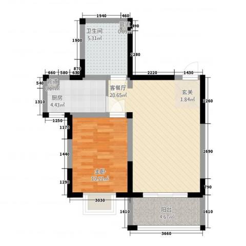 芳清苑1室1厅1卫1厨67.00㎡户型图