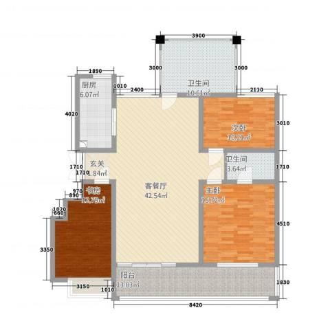 宝恒水木清华3室1厅2卫1厨128.00㎡户型图