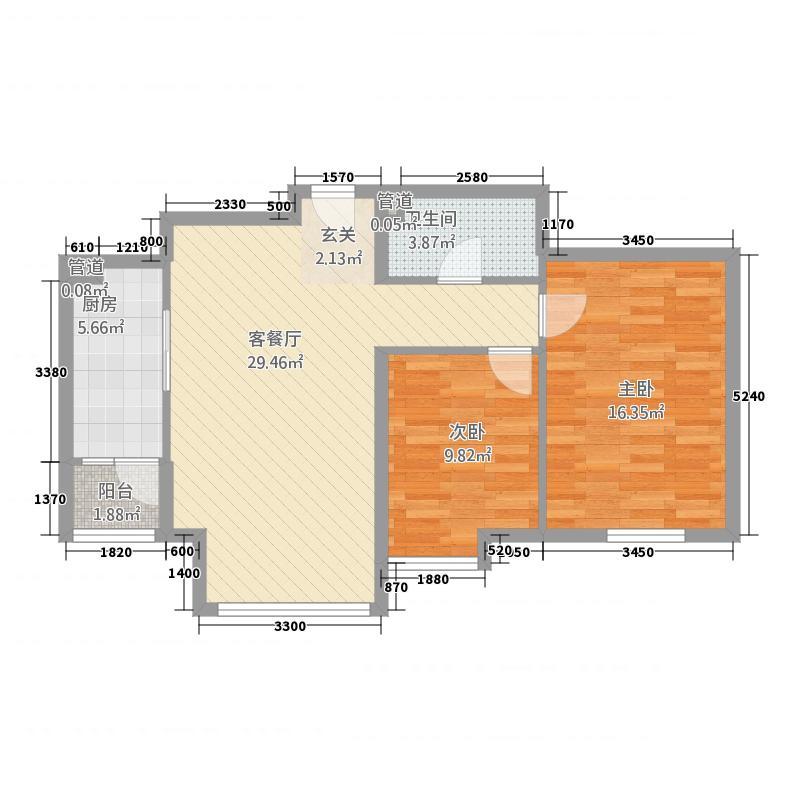 时代国际中心4.40㎡A2户型2室2厅2卫