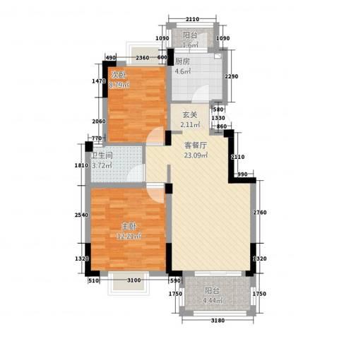 尊园2室1厅1卫1厨84.00㎡户型图