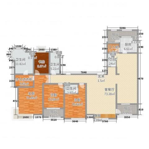新梅御香山4室1厅4卫1厨267.00㎡户型图