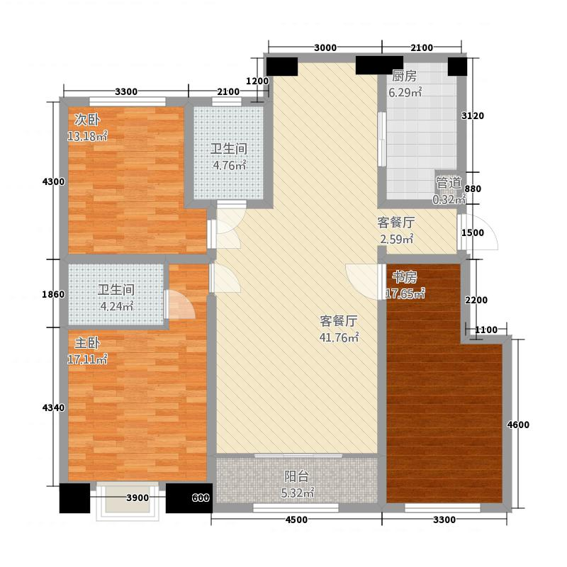 环岛花园53.20㎡M5户型3室2厅2卫1厨