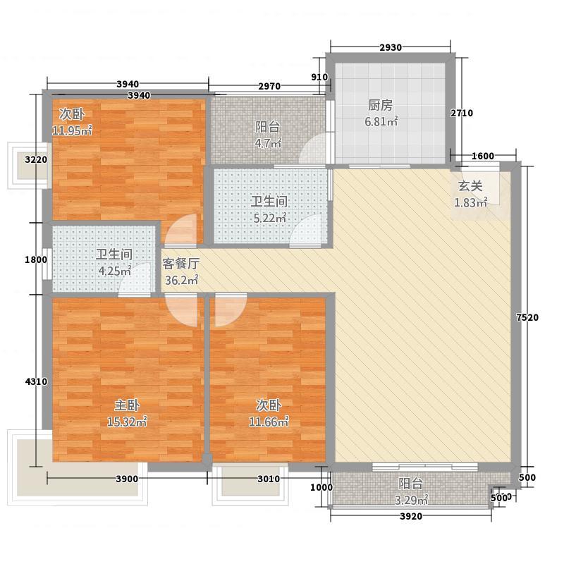 怀化书香美域128.25㎡户型3室2厅2卫1厨