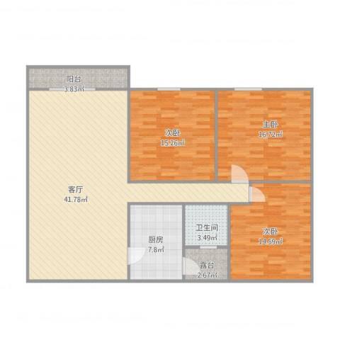 金日阳光花园3室1厅1卫1厨142.00㎡户型图