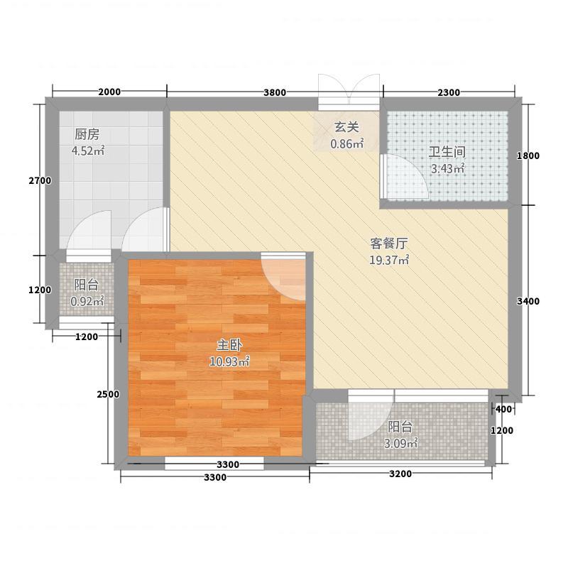 安联星朗61.68㎡D户型1室2厅1卫1厨