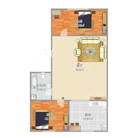 锦华中园622332室1厅1卫1厨125.00㎡户型图