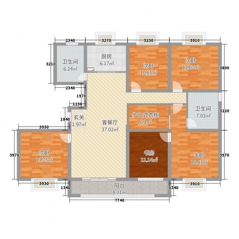 新能源新世界广场13.20㎡户型5室2厅2卫1厨
