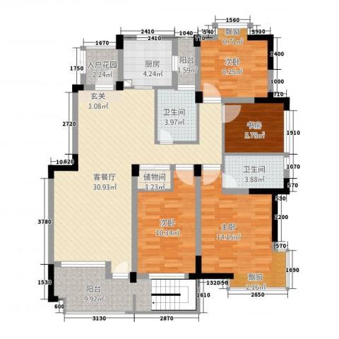 翡翠城4室1厅2卫1厨140.00㎡户型图