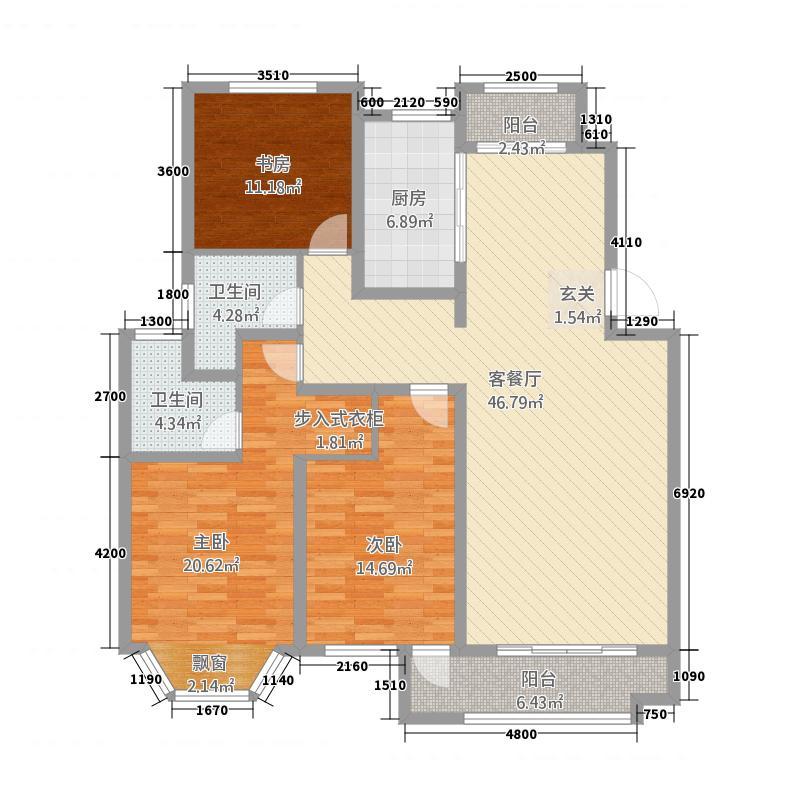 英伦公馆3332146.75㎡A户型3室3厅2卫2厨