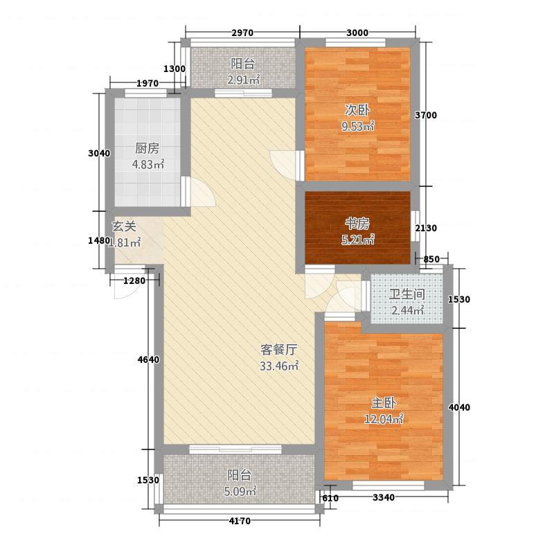 姜水龙湾二期32111.22㎡D户型3室2厅1卫1厨