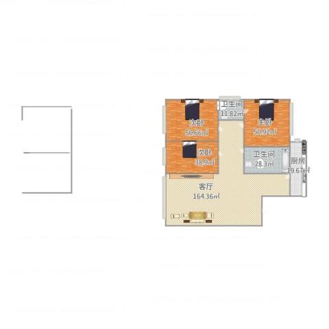 佳地花园3室1厅2卫1厨472.00㎡户型图