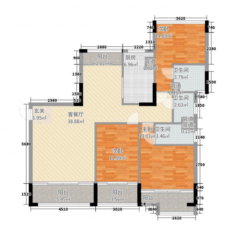 翡翠明珠13121.31㎡一期B1座03/B2座01单位户型3室2厅3卫1厨