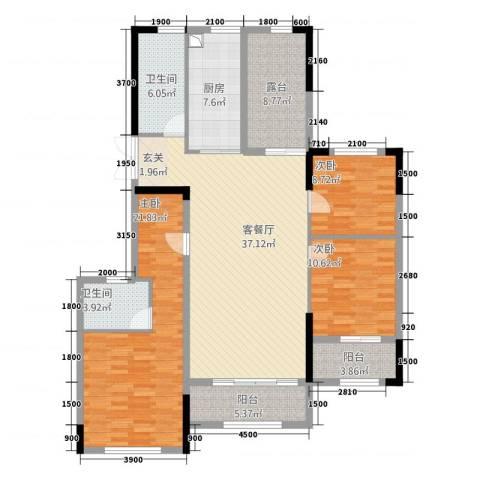 湘水郡3室1厅2卫1厨8314.00㎡户型图