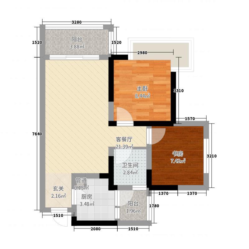 保利叶语666.20㎡6号楼标准层A1户型2室2厅1卫1厨