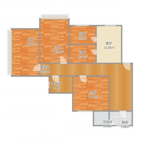 重庆石桥铺万昌商住楼5室1厅1卫1厨136.00㎡户型图