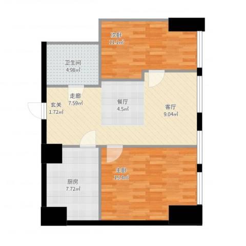 秀东尚座2室1厅1卫1厨89.00㎡户型图
