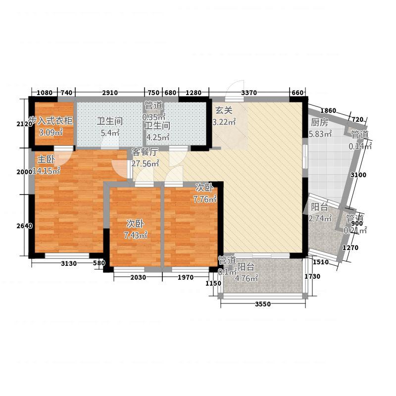 晋合湘水湾146111.20㎡1期4-6栋B2户型3室2厅2卫1厨