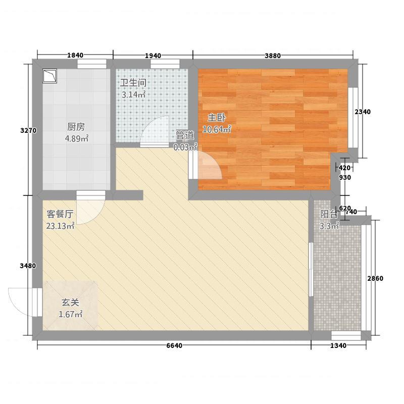 天鸿万象新天65.20㎡北区哈佛郡1#5#6#10#楼标准层H户型1室2厅1卫1厨