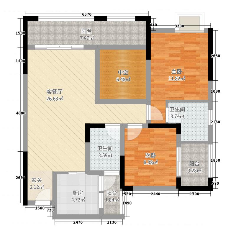 广田泰丰花园14.14㎡C户型2室2厅2卫1厨