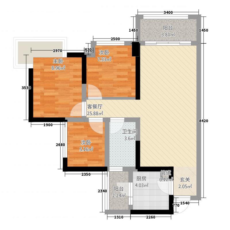 保利叶语45681.20㎡4、5、6号楼标准层F3户型3室2厅1卫1厨