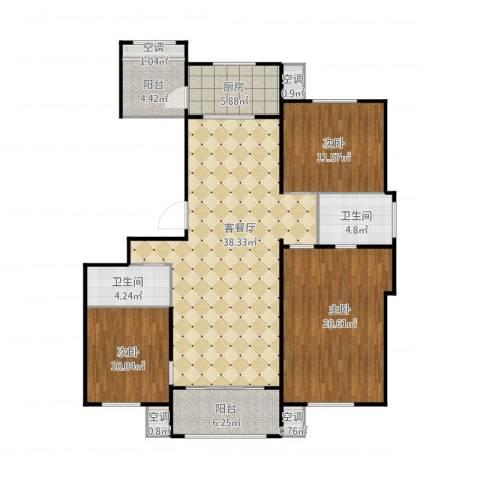 首开保利熙悦诚郡127平米3室1厅2卫1厨147.00㎡户型图