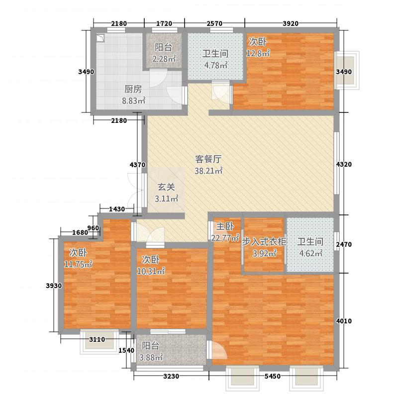 西华名邸177.20㎡D2户型4室2厅2卫1厨