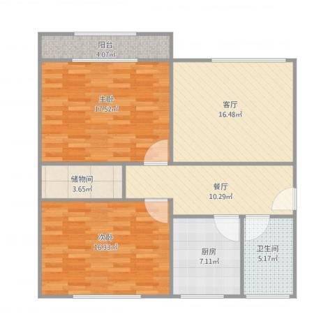 山东省畜牧局宿舍2室2厅1卫1厨109.00㎡户型图