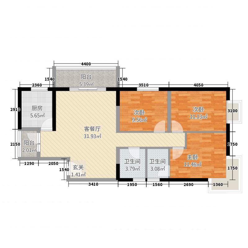 兰州国资物业第二十二佳园5-E户型3室2厅1卫