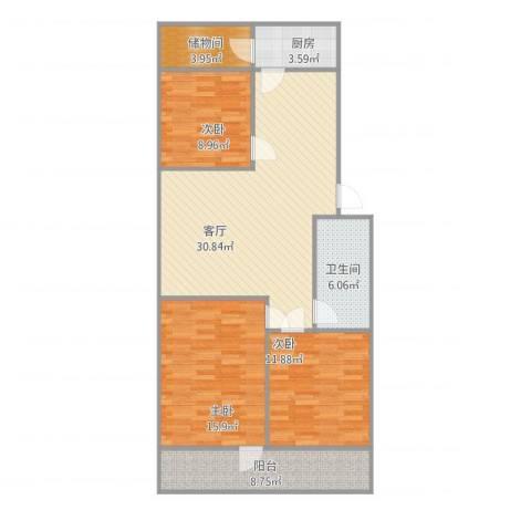 建鑫花园3室1厅1卫1厨96.84㎡户型图