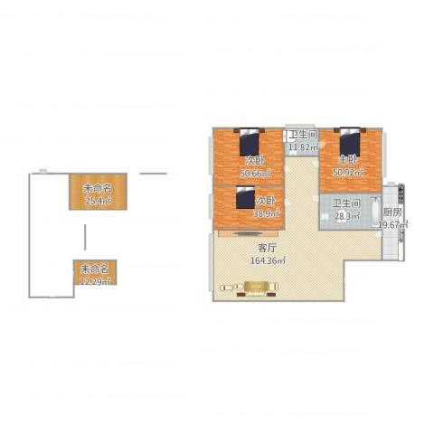 佳地花园3室1厅2卫1厨522.00㎡户型图