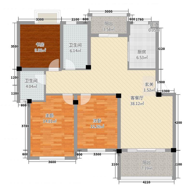 富圣豪庭12.82㎡户型3室2厅2卫1厨