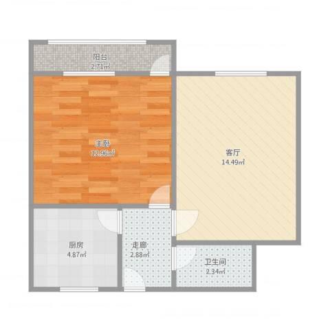 山东省畜牧局宿舍1室1厅1卫1厨55.00㎡户型图