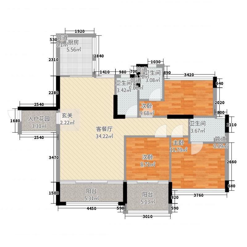 翡翠明珠14125.46㎡一期G1座04单位/G2座03单位户型3室2厅3卫1厨