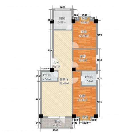 金泽洮水明珠3室1厅2卫1厨118.00㎡户型图